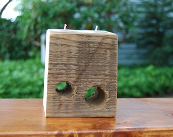 Candle Holder from reclaimed wood beam