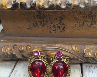 Large Stud Earrings - Ruby Drop Earrings - Vampire Jewelry - gothic earrings - gold teardrop earrings - Big Stud Earrings, Ruby Red Earrings