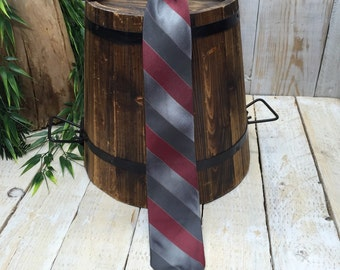 Prestige Tie, Clip On Tie, Clip On Necktie, Mens Tie, stripe tie, Clip Necktie, gray stripes, maroon tie, mens clip on tie, clip-on tie