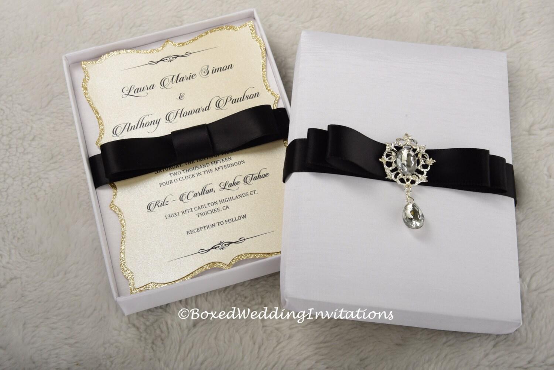 Wedding Invitation In A Box: Silk Invitation Box / Boxed Invitation/ Black Tie Event/