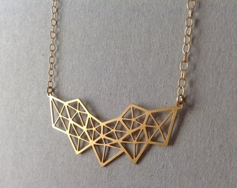Gold Geometric Diamond Necklace