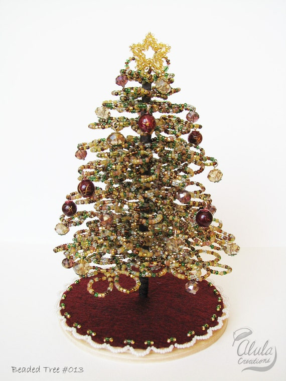 Beaded Christmas Tree Miniature Christmas Tree Holiday