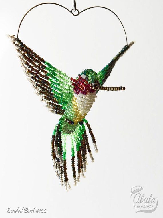 beaded bird necklace beaded hummingbird by alulacreations
