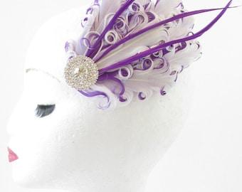 Purple & White Feather Fascinator Hair Clip Headpiece Vintage Silver 1920s S82