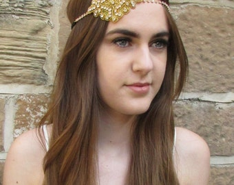 Gold Silver Diamante Headband Flapper Great Gatsby 1920s Headpiece Vintage X-67