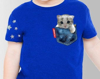 Pet (American sort hair cat)in a jean pocket t-shirts, cute cat t-shirts, Kids tee, unique cat t-shirts,white and gray cat,fun kids tee