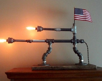 Edison Lamp, Gun Lamp, Steampunk Lamp, Industrial Lamp, Steampunk Lighting, Pipe Lamp, Desk lamp, Accent Lamp, Patriot Lamp, Lighting