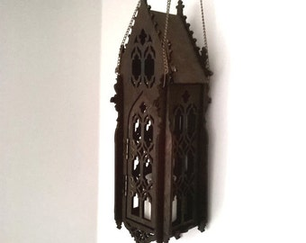 Gothic lamp, openwork lantern, like medieval cathedral