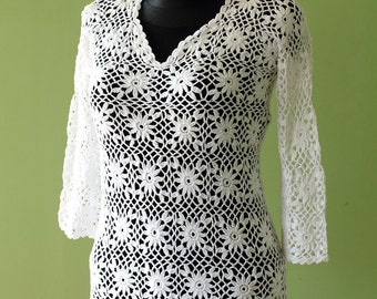 Crochet Tunic White Tunic Crochet Blouse  MADE TO ORDER