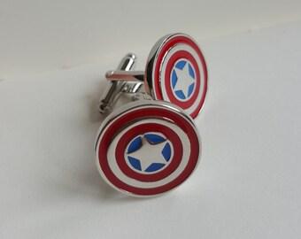 Captain America Cuff links, Marvel Captain America Shield Cufflinks, Perfect Gift