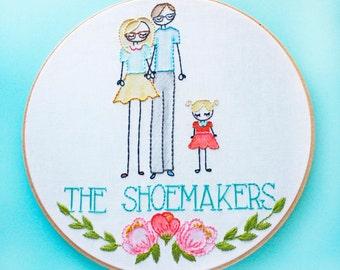 CUSTOM Family Portrait, Embroidery Hoop Art,Stitch Portrait,Birth Announcement,Cross Stitch Family,Personalized Family,Custom Family Name