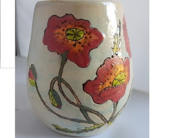 Ceramic poppy flowers red and white vase unique hand made