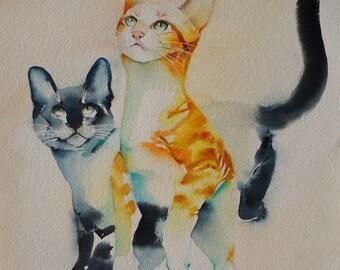 Original watercolour of a cat