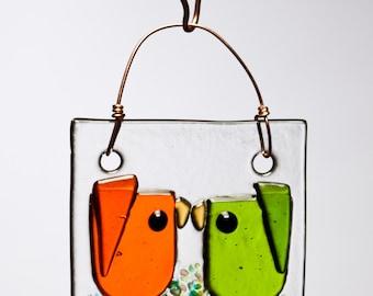 Orange and Green Kissing Birds Handmade Fused Glass Suncatcher Ornament