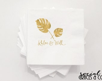 Tropical Palm Wedding Napkins • Weddings • Bridal Showers • Engagement Parties • Hot Stamp Foil • Metallic Foil Personalized