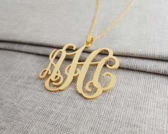 Personalized 2 inch Monogram Necklace,3 Initials Charm Necklace,Monogram Script Necklace,Nameplate Necklace Gold,Bridesmaids Gift