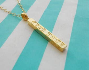 Gold Vertical Coordinates Bar Necklace,Latitude longitude Bar Necklace,Long Silver Bar Necklace,Personalized Bar Necklace