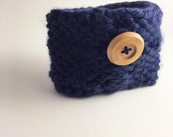 knit coffee cozy, coffee cozy, coffee sleeve, coffee cup sleeve, cozy, cup cozy, coffee cup cozy, knit cozy, button cozy, blue cozy