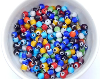 Evil Eye Beads, 6mm, 40pcs, Multicolor, Lampwork, Evil Eye, Amulet Beads, Destash