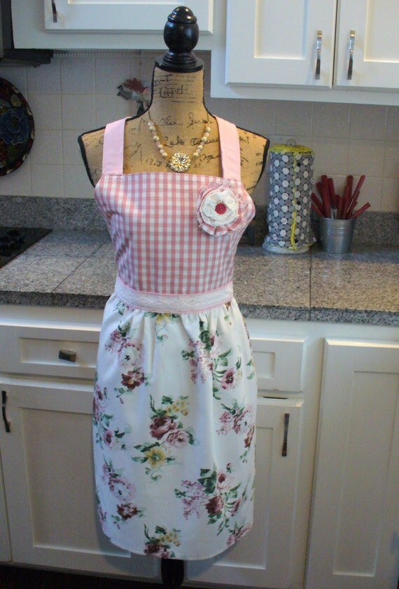 Country Garden Floral and Pink and White Check Full Apron, Full Apron, Pink and White Apron, Vintage Lace, One of a Kind, MarjorieMae