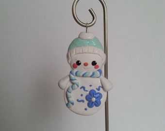 Handcrafted Polymer Clay Whimsical Snowman Ornament - Christmas Ornament