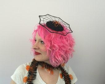 Spider Web Fascinator, Orange Spider Hat, Spider Hair Clip, Halloween Fascinator, Whimsy, Kitschy, Halloween, Costume, Headband