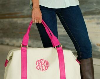 ON SALE Monogrammed Canvas Weekender Bag, Monogrammed Duffel Bag, Pink Canvas Tote, Bridesmaids Gift, Canvas Bag, Monogrammed Gifts