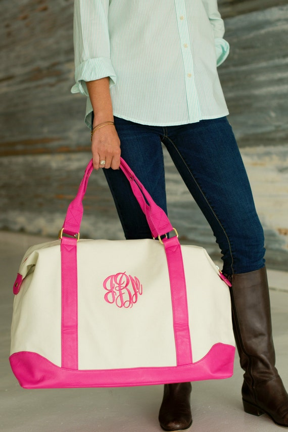 CLOSEOUT Monogrammed Canvas Weekender Bag, Monogrammed Duffel Bag, Pink Canvas Tote, Bridesmaids Gift, Canvas Bag, Monogrammed Gifts