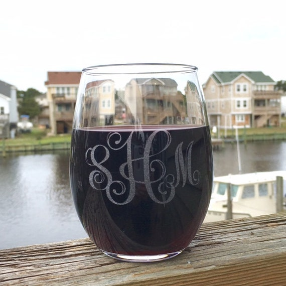 Monogrammed Wine Glass, Engraved Wine Glass, Etched Stemless Wine Glass, Monogrammed Gifts, Bridal Party Gifts, Weddings, Personalized