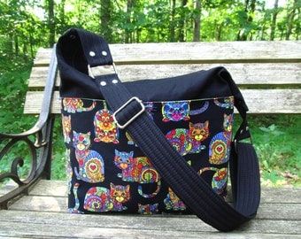 """READY to Ship--The """"Snazzy Slouch"""" Hobo/Shoulder bag/Crossbody-Featuring Bright, Wild, Psychedelic Cool Multi-Colored Kitty Cats with Black"""