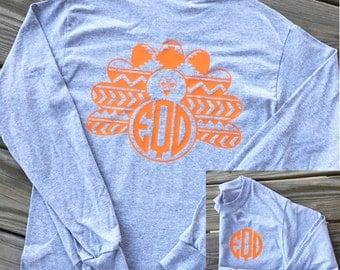 Monogrammed Turkey Long Sleeve Shirt. Monogrammed Turkey Shirt. Turkey Shirt. Thanksgiving Shirt. Turkey Monogram Shirt. Monogrammed Shirt.