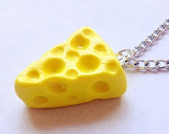 Cheese necklace,Cheese jewelry,Cheesehead jewelry,Cheesehead necklace,Food jewelry,Food necklace,Fake food jewelry,Cheese wedge necklace