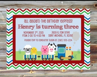 Train Theme Birthday Invitation - 1st 2nd 3rd Birthday Boy Toddler Invitation - Printable Custom Farm Animal Train Theme Birthday Invitation