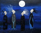 We All See the Same Moon 11 x 14 Art Print Reproduction of Original Contemporary Folk by Jeanne Fry