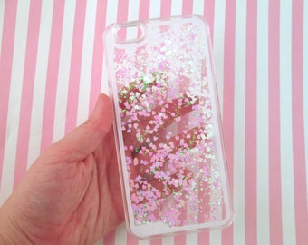 IPhone 6 PLUS Case, 6s Plus White and Pink Heart Glitter Liquid Waterfall Case, Hologram Quicksand Bling