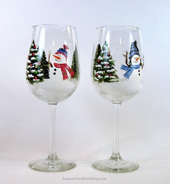 Hand Painted Snowmen Glasses