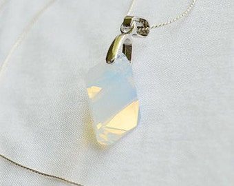 Geometric Swarovski Necklace, White Opal Swarovski Necklace,  White Opal Swarovski Crystal Pendant, Bridal necklace, Swarovski Jewelry