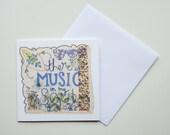 Greeting Card, Digital Print of Original Embroidery, Hymn Art, Music, Inspirational Quote, Christian Art, Encouragement Card