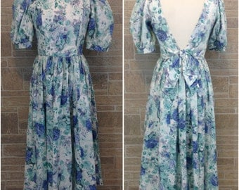 Laura Ashley 80s floral dress - white, blue and green
