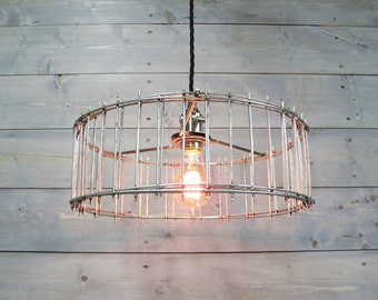 "Industrial Pendant Light 12"" Diameter X 5"" Tall Galvanized Steel Cage - Repurposed Modern Metal Ceiling Light"