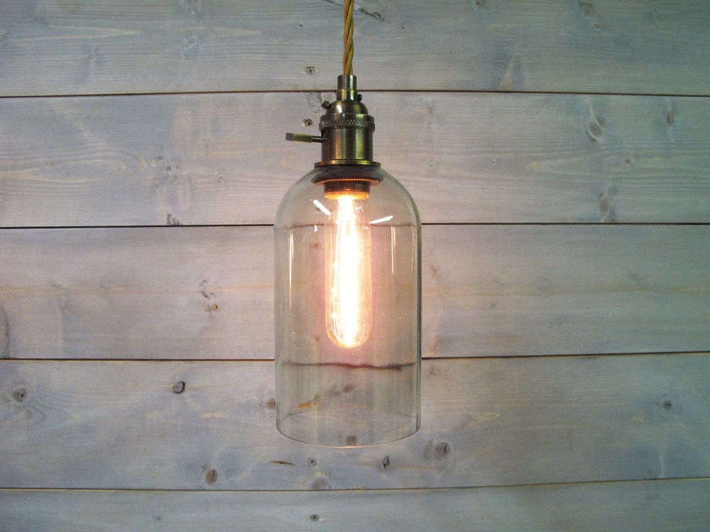 Wine Bottle Pendant Light Extra Large Clear Glass by VexDecor