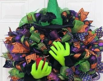Halloween Witch Wreath - Witch Wreath - Halloween Decor - Halloween Mesh Wreath - Halloween Door Decor - Fall Holiday Wreath - Mesh Wreath