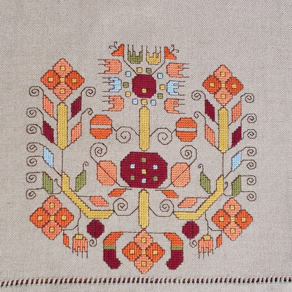 Items similar to hand embroidered table cloth cross