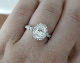 vintageunique wedding ring set 7x9mm oval cut moissanite engagement ring 14k solid white gold moissanite ring - Oval Wedding Ring