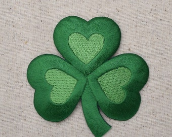 Irish - Green Clover Shamrock - Embroidered Patch - Iron on Applique - Three Sizes