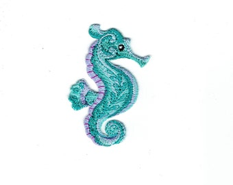 Seahorse - Tropical - Blue/Green/Purple - Marine Fish - Iron on Applique - Embroidered Patch - 697002-A