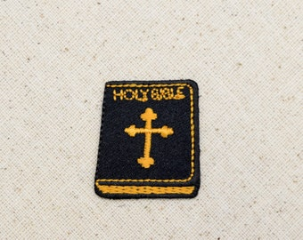 Holy Bible with Cross - Black and Yellow Gold - Iron on Applique - Embroidered Patch - 695646A