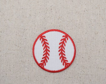 Large - Baseball - Red and White - Embroidered Patch - Iron on Applique  - WA228-B