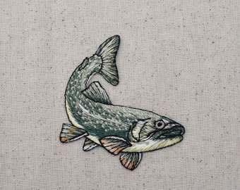 Natural Fish - Iron on Applique - Embroidered Patch - 152640A