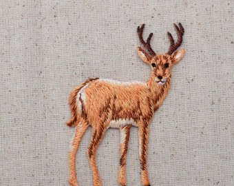 Natural Buck Deer- White Tail - Standing - Full Body - Embroidered Patch - Iron on Applique - 155471A